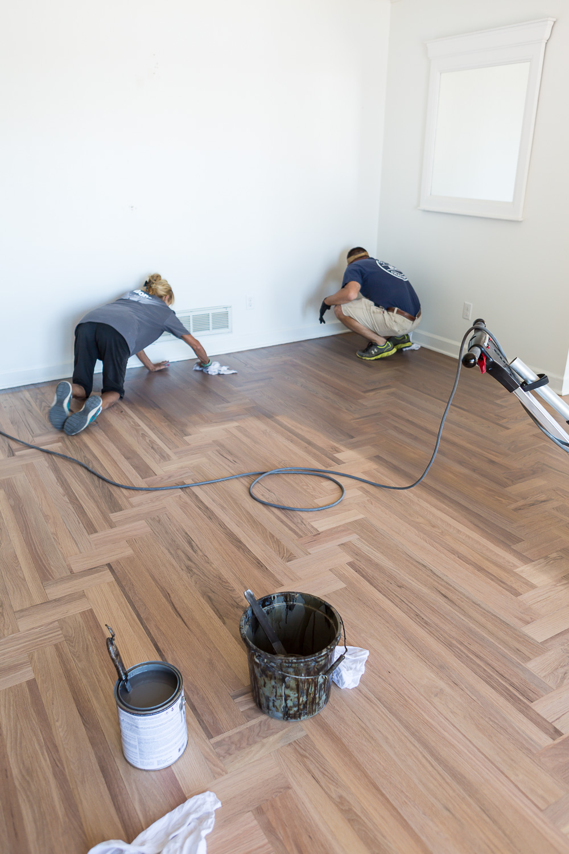 Bona Hardwood floor refinishing being done on wood floor