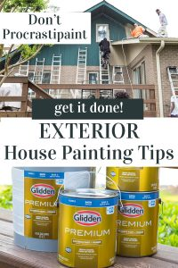Image graphic that says don't procrastipaint, Get it done - Exterior house painting tips