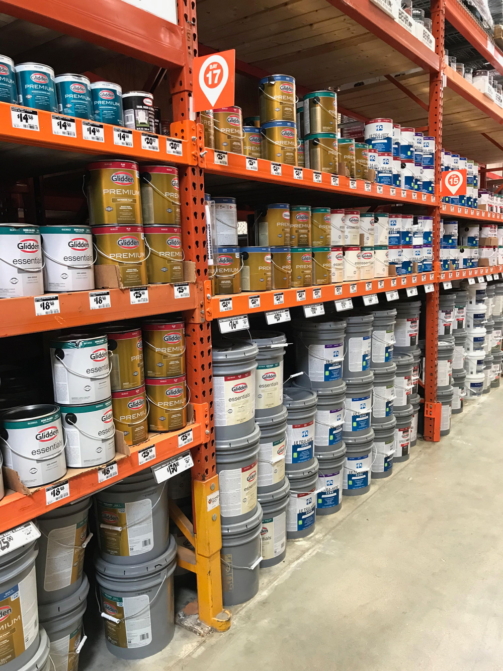 The exterior paint aisle in a Home Depot