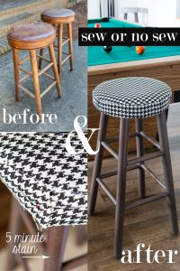 From trash to treasure furniture makeover using stain and fabric