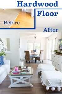 Before and After Hardwood Floor refinishing and stain color