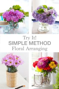 photo showing 4 flower arrangements all created using the Simple Method of floral arranging.