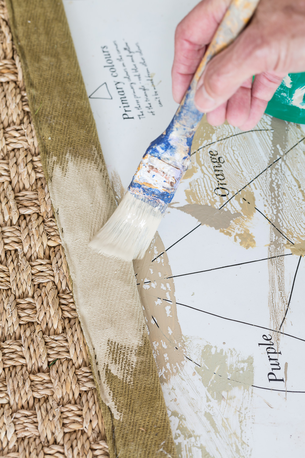 How to paint the border on a rug a new color using chalk paint.