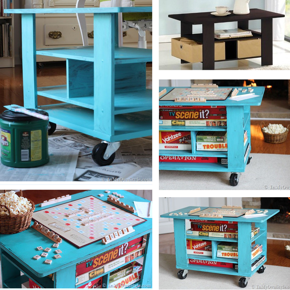 Wayfair coffee table transformed into a rolling game table