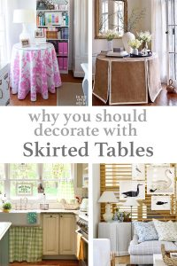 4 images of skirted tables