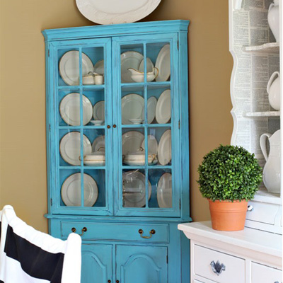 Home made chalk painted corner cabinet