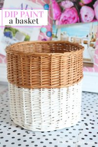 How to dip a thrift store wicker waste can in paint to give it a style update.