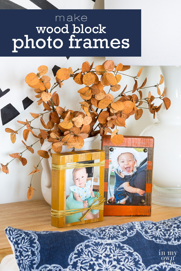 Wood block crafts you can make in an afternoon. Fall inspired Wood block photo holder frames made using scrap wood and craft supplies you may already own. #scrapwood #scrapwoodcrafts #woodblockcraftsDIY #photoholder #pictureframeDIY