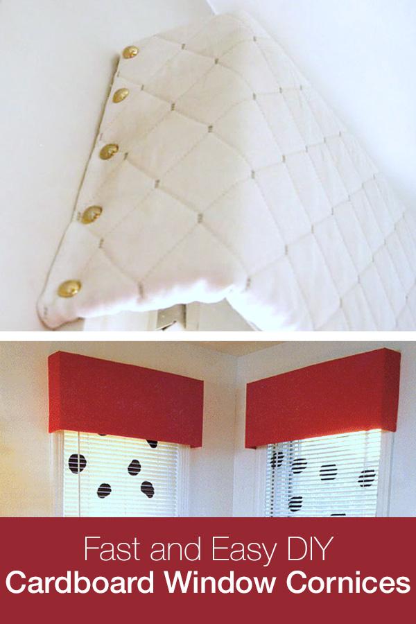 Window cornices made using cardboard and fabric. Budget home decor.