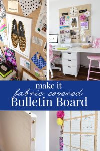 Photos showing how to make a fabric covered memo board
