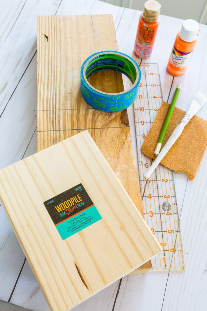 supplies needed to make a wood block photo frame from scrap wood