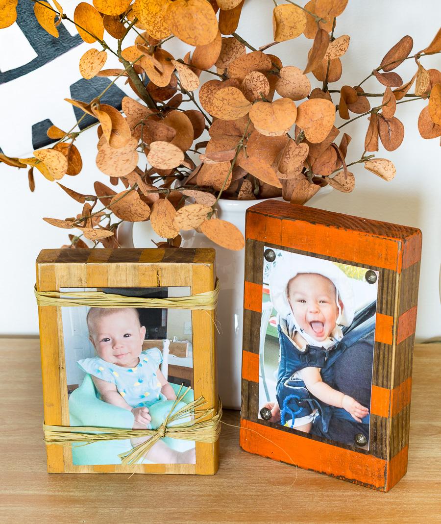 diy wood block frames painted in fall colors