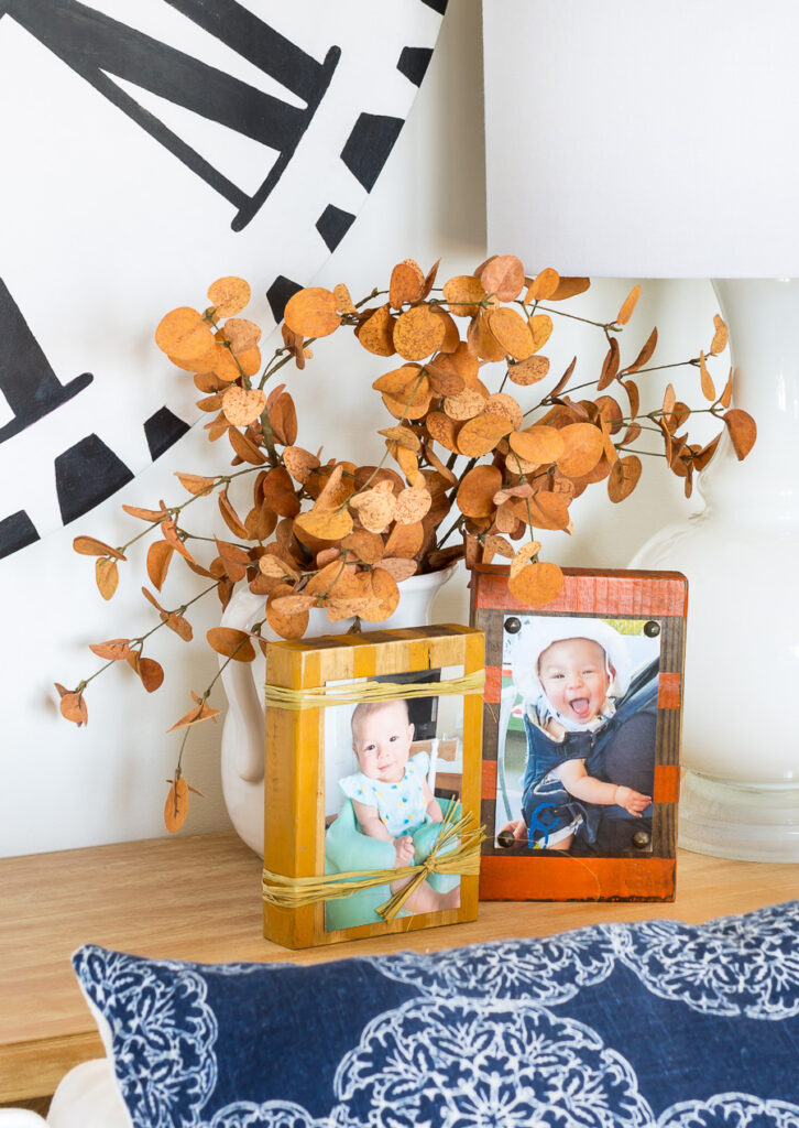 Fall tabletop wood block photo holders on table
