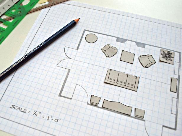 how to plan a furniture arrangement for a room to scale with furniture templates and graph paper.