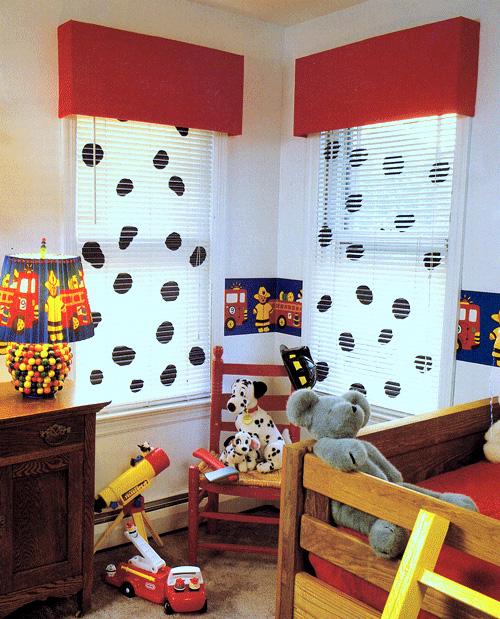 DIY Red corduroy cardboard window cornice with Dalmatian blinds.