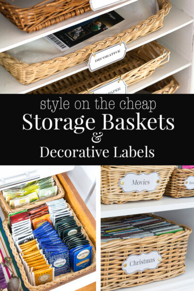 How to transform basic baskets with handles into decorative storage baskets.
