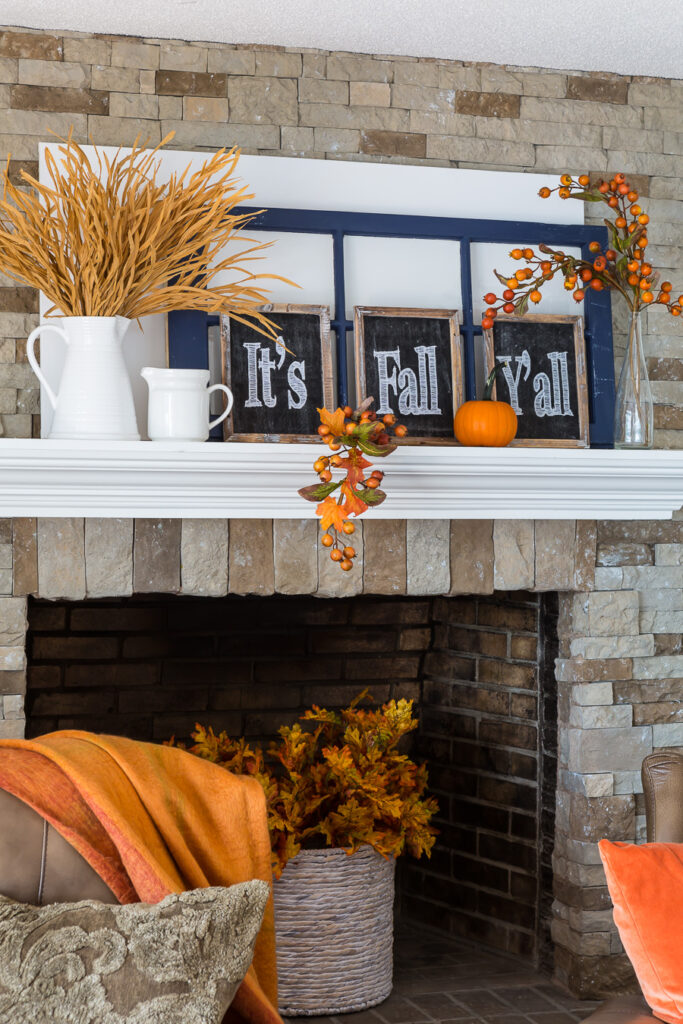 affordable fall mantel decorating ideas using repurposed items