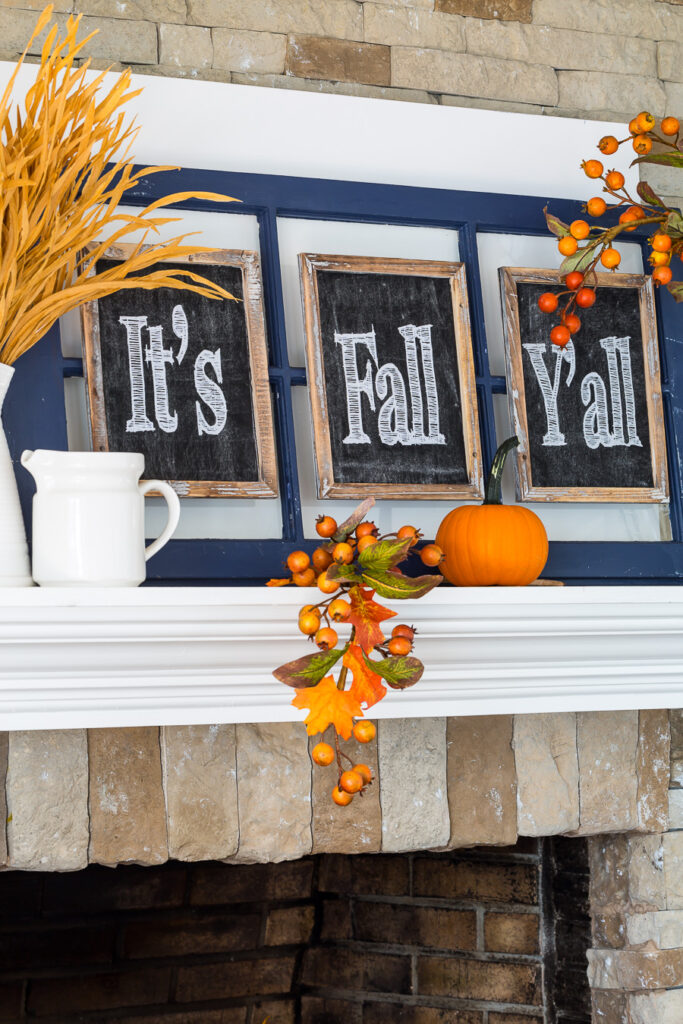 DIY fall mantel decorating ideas using repurposed items