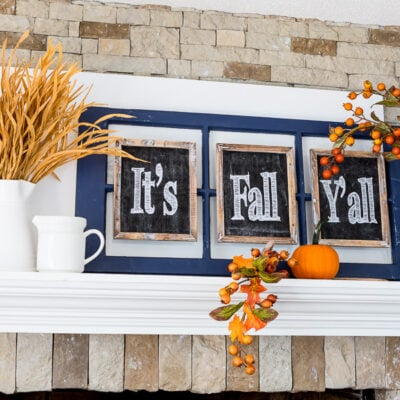 Fall mantel decorating idea using a window sash and small chalkboards that sat It's Fall Y'all