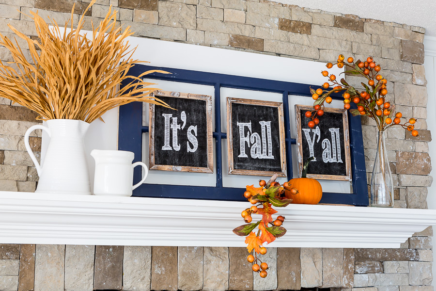 It's Fall Y'all decorated mantel