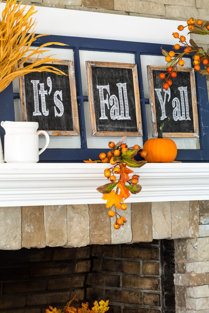 It's Fall You All Written on Small Chalkboards on a mantel