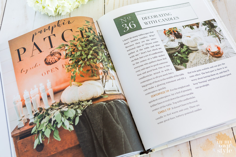 Page in Cozy White Cottage opened to page about decorating with candles