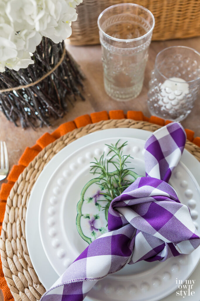 Autumn dining table place setting inspired by a photo in a decorating magazine.