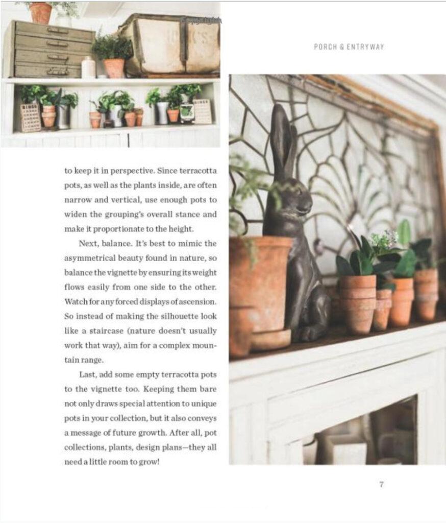 terra cotta pots on shelf
