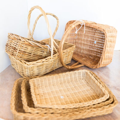 Thrift store find baskets made into decorative storage