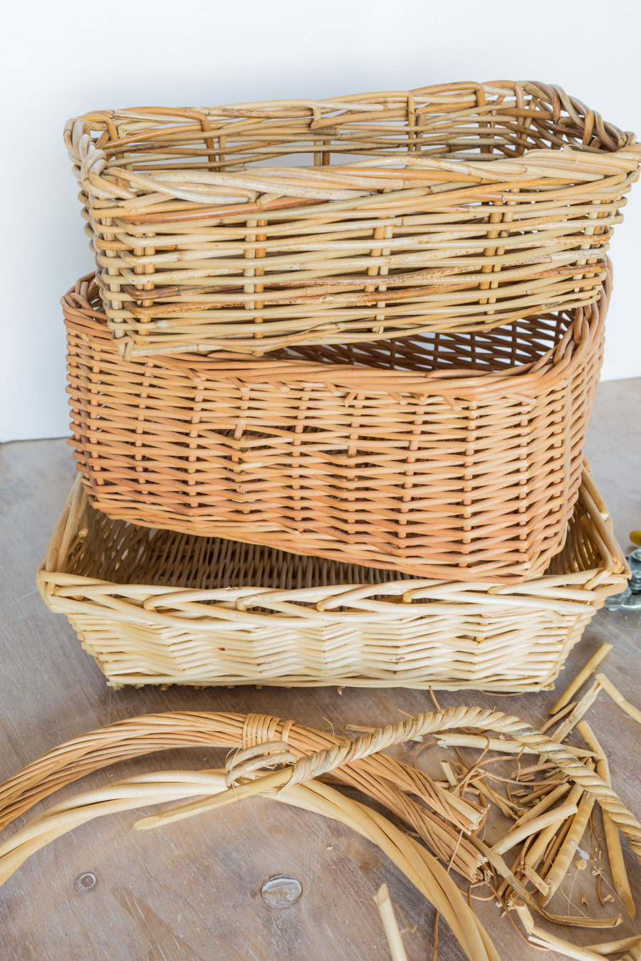 3 wicker baskets stacked on top of each other