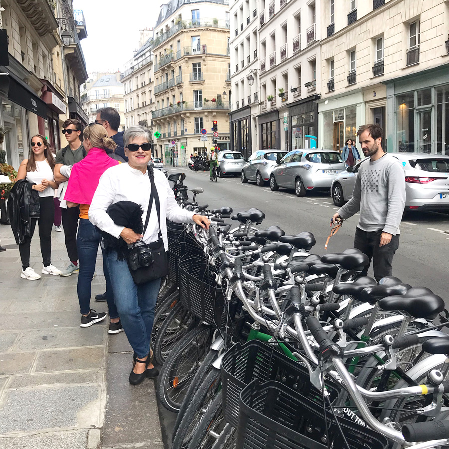 Things to do in Paris. Diane of In My Own Style blog in Paris getting ready to take a bike tour.