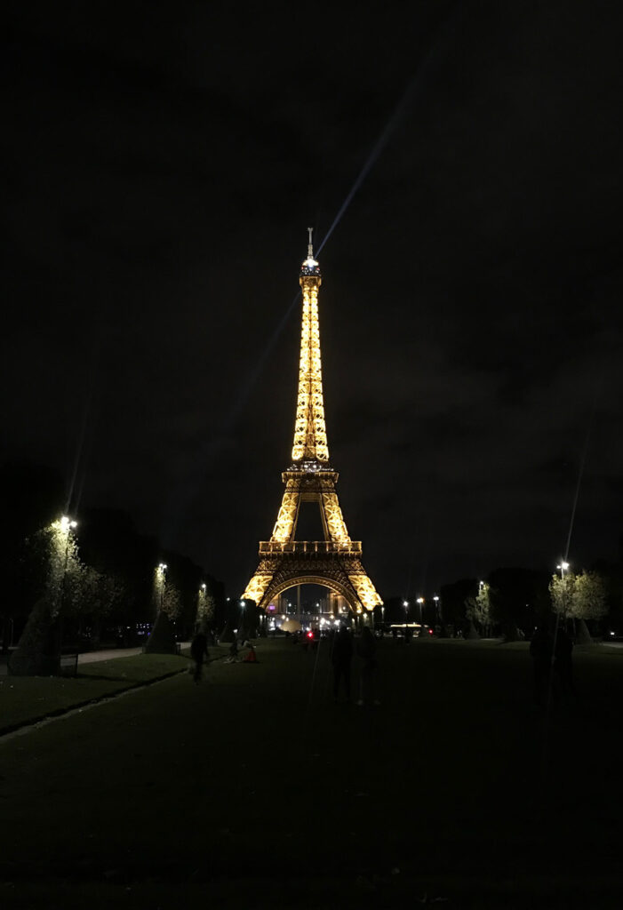 The Eiffel Tower at lit up at night