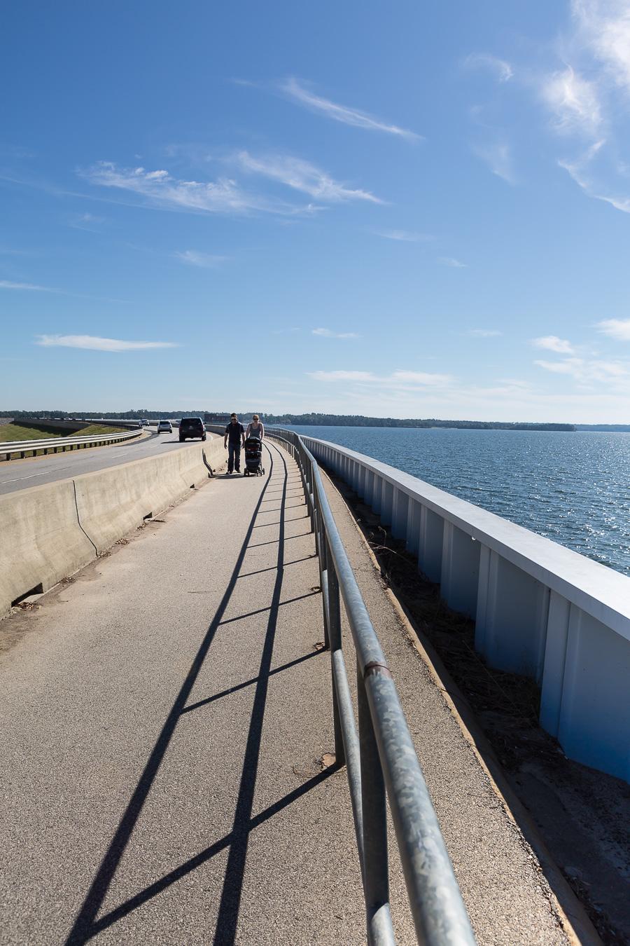 walking along lake murray dam walkway