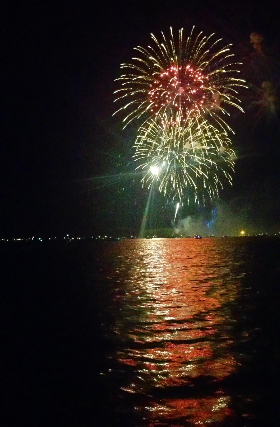 Fireworks over lake