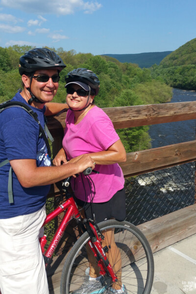 Diane-and-Ed-In-My-Own-Style-blog standing by bikes on a bike tour along the Lehigh River Gorge