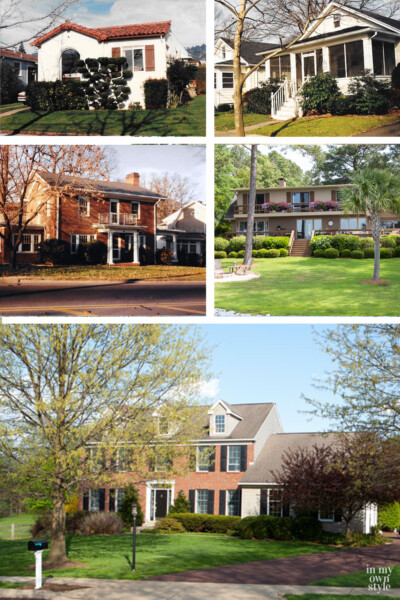 image shows photos of 5 houses