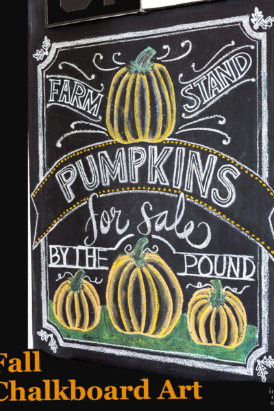 Fall Chalkboard Drawing and Lettering with Pumpkins.