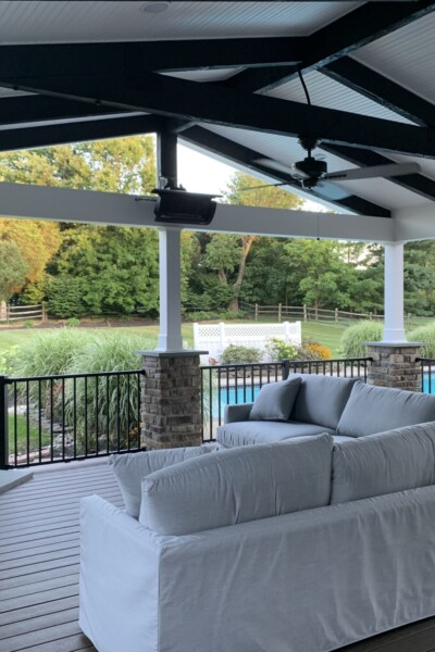 Outdoor fireplace and covered porch