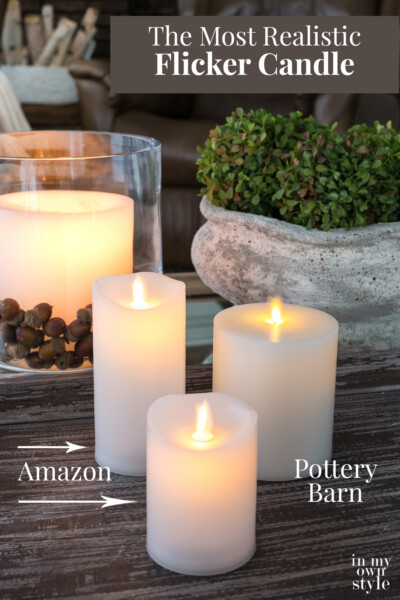 3 flicker candles on a table. Text overlay says The Most Realistic Flicker Candle