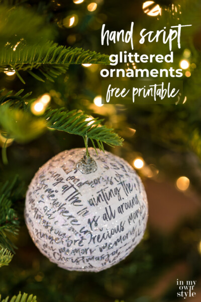 How to transform a ball Christmas ornament using glitter and paper strips of hand writing script paper with the lyrics from the classic Christmas movie Home Alone. Free printable to use to make your own ornaments.