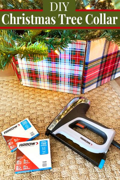 Plaid Fabric Christmas tree collar using a staple gun