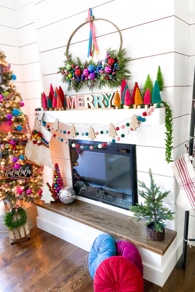 Colorful Christmas mantel.